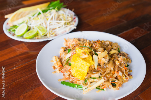 Pad thai or stir fry noodles on the table. Canvas Print