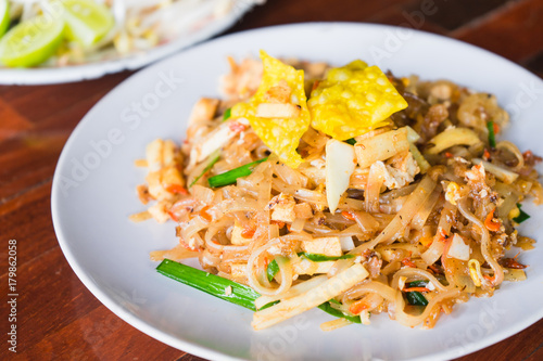 Pad thai or stir fry noodles on the table. Wallpaper Mural