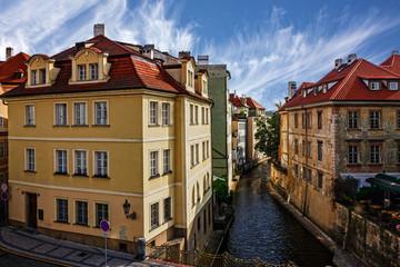 Fototapeta na wymiar Prague canal houses, cityscape, Czech Republic