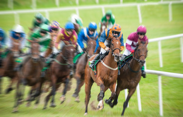 Horse race  galloping galloping around the corner motion blur effect