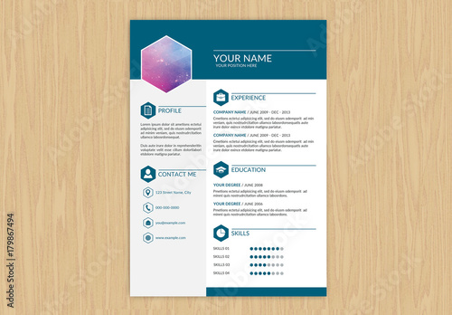 resume with dark teal header and footer