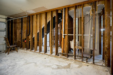 Bare Walls Of A Flooded Home A...