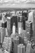 Black and white aerial picture of New York skyscrapers, USA.
