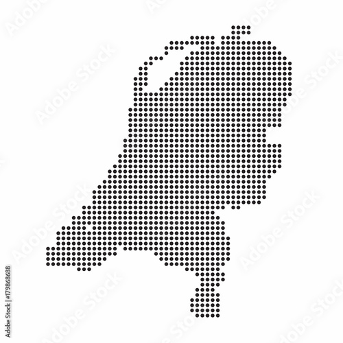 Netherlands country map made from abstract halftone dot pattern ...