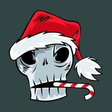 Cartoon Skull In Santa's Hat. Print Idea