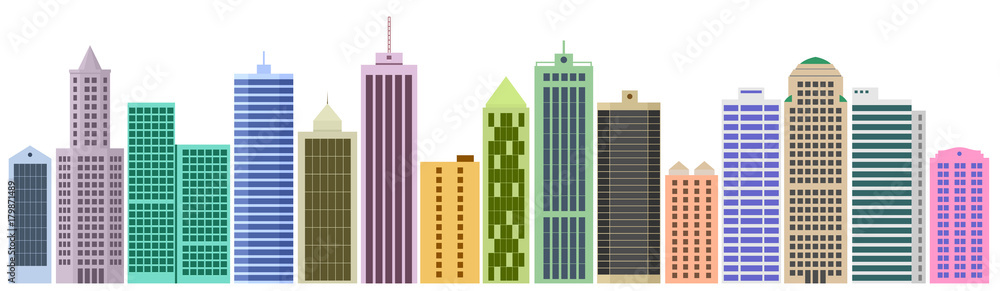 Fototapeta Cartoon banner of the website with set of skyscrapers and buildings. Set of facades. Vector graphics templates
