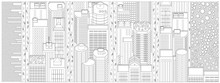 Cartoon Banner Web Site With The Panorama Of Manhattan In New York. Contour Black And White Print . Top View, Isometric. Vector Graphics. Central Park