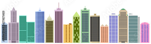 Fototapeta Cartoon banner of the website with set of skyscrapers and buildings. Set of facades. Vector graphics templates obraz