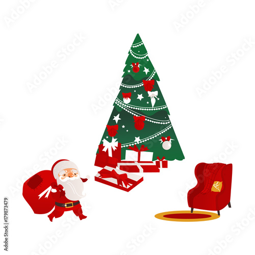 Funny Santa Claus Beautiful Christmas Tree Many Presents And Cozy Armchair Flat Cartoon Vector Illustration Isolated On White Background Christmas Elements Santa Fir Tree Presents And Armchair Buy This Stock Find images of cartoon tree. adobe stock