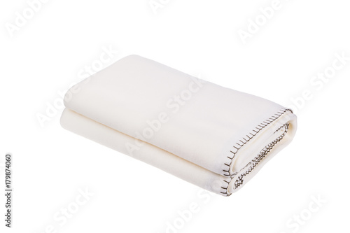 Photo White wool blanket isolated on white background.
