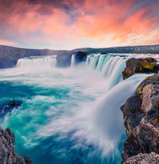 Obraz na SzkleSummer morning scene on the Godafoss Waterfall
