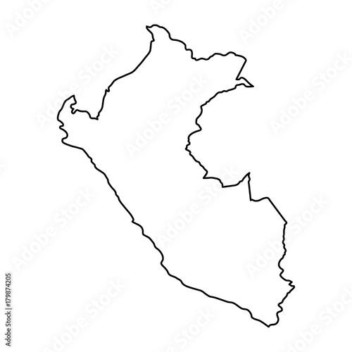 Peru Karte Umriss.Peru Map Of Black Contour Curves Of Vector Illustration