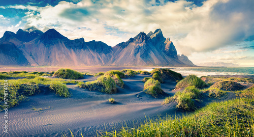 Poster Bleu nuit Black sand dunes on the Stokksnes headland on southeastern Icelandic coast.