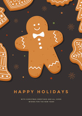 Christmas card with gingerbread man and inscription Happy Holidays. Template for design of your holiday cards. Vector illustration.