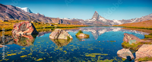 Colorful summer panorama of the Stellisee lake. #179877202