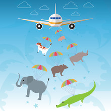 The Plane Clears Cute Animals: Pig, Cow, Rhino, Elephant, Crocodile, Alligator, Bear.