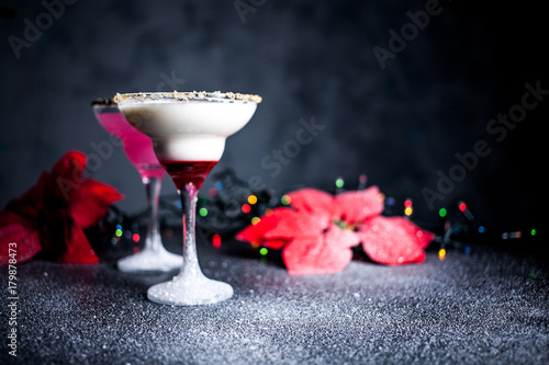 Fototapety, obrazy: Christmas pink and white margarita cocktails. Martini Cocktails