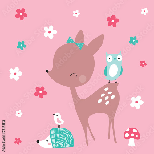 Photo cute deer with hedgehog and birds vector illustration