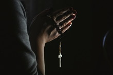 Woman Hands Holding Rosary On ...