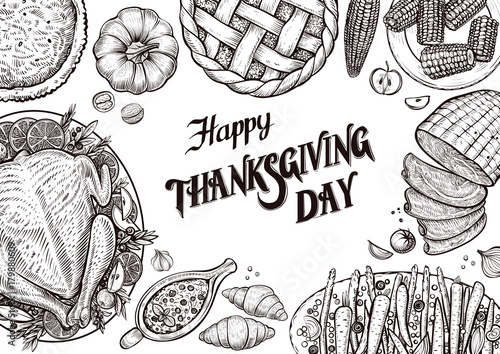 Dinner table top view template with vector illustrations of food dinner table top view template with vector illustrations of food for tradition thanksgiving day maxwellsz