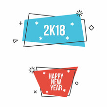 New Year 2018 And Happy New Year. Set Of Two Banners In Flat Design Style. Vector