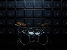 Black Drum Set In A Dark Room,...