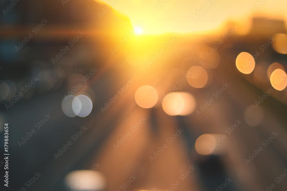Fototapety, obrazy: Beautiful sunset city bokeh.