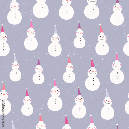 20a82875aa51b Winter holidays seamless pattern. Snowmen in colorful Christmas hats ...