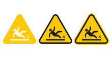 Set Of Wet Floor Signs. Vector