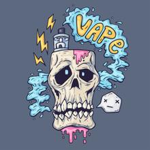 Cartoon Skull Exhales Steam. I...