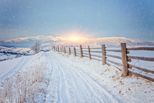 Winter Country Landscape With ...