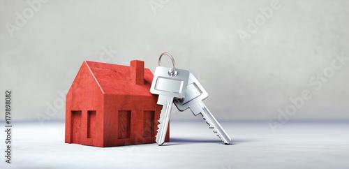 Fototapeta Rotes Bauklotz-Häuschen mit Schlüsseln obraz