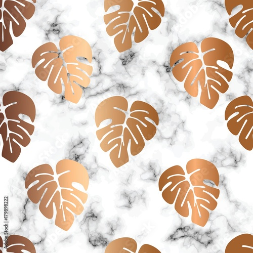Fototapeta na wymiar Vector marble texture design seamless pattern design with golden monstera leaves, black and white marbling surface, modern luxurious background, vector illustration