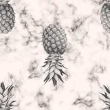 Wektor marmurowej tekstury bezszwowy deseniowy projekt z ananasem, czarny i biały marmurkowata powierzchnia, nowożytny luksusowy tło, wektorowa ilustracja - 179898428