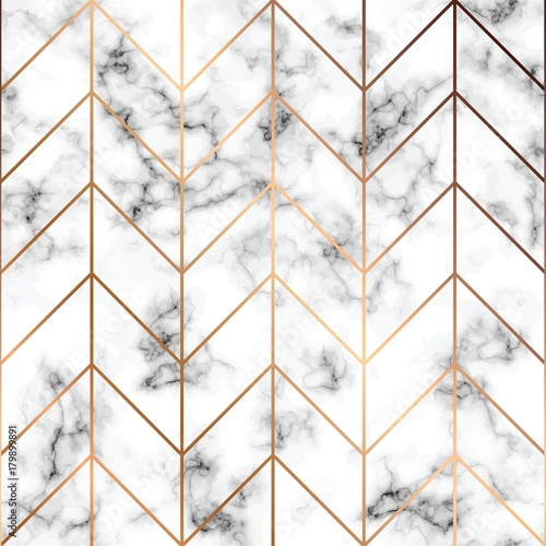 Fototapeta na wymiar Vector marble texture, seamless pattern design with golden geometric lines, black and white marbling surface, modern luxurious background