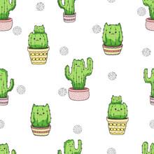 Seamless Cactus Cats Pattern. ...