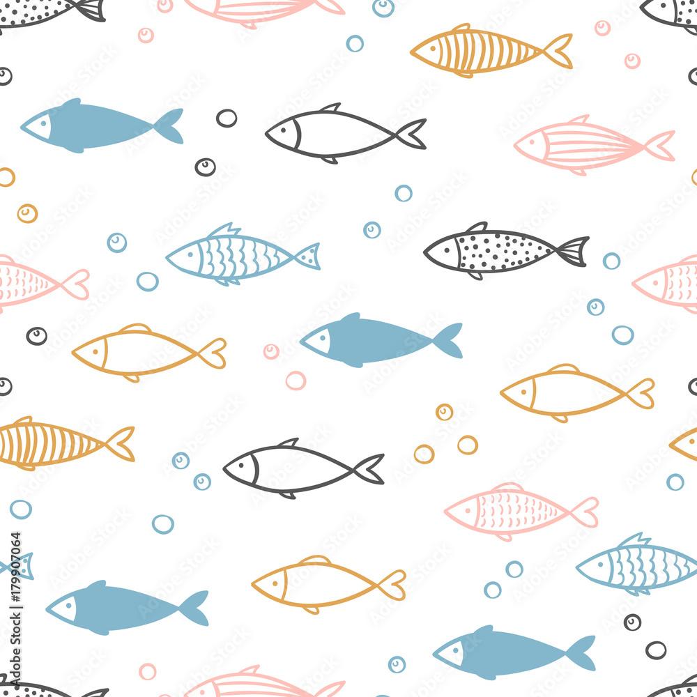 Fototapeta Seamless vector hand drawn fish pattern.