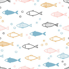 Bešavni vektor ručno nacrtanog uzorka ribe