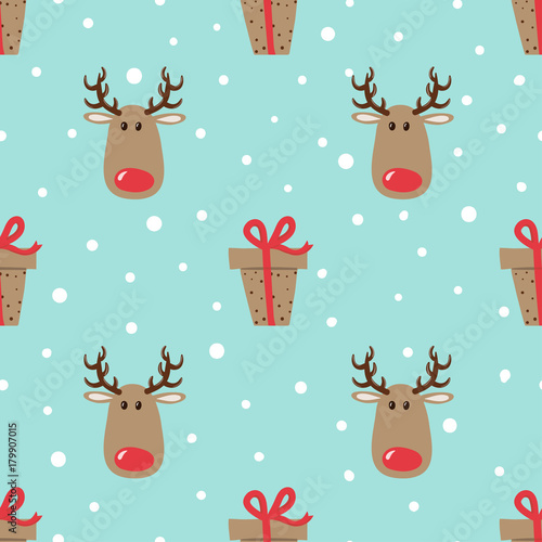 Cotton fabric Christmas pattern with cute deers and gifts. Vector holiday background.