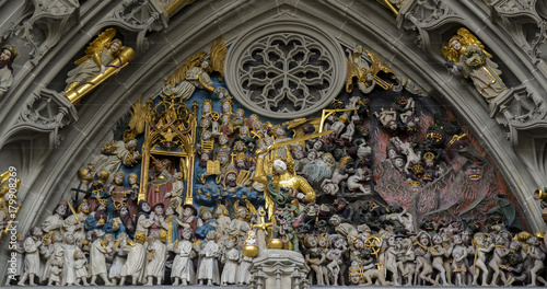 Fotografie, Tablou  Bern's Cathedral. Switzerland. Judgement Day. Decoration.