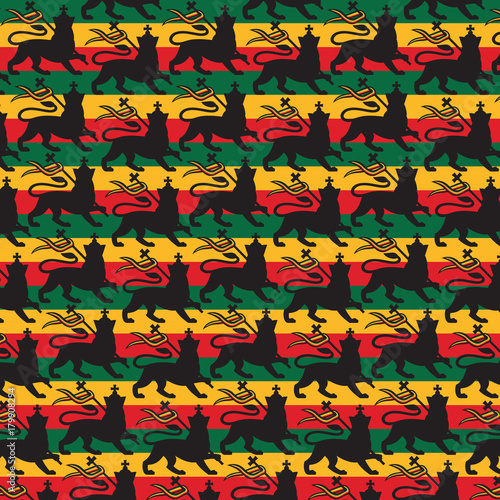 Background pattern with Rastafarian flag with the lion Tablou Canvas