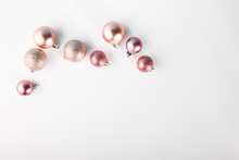 Shining Pink Baubles On White