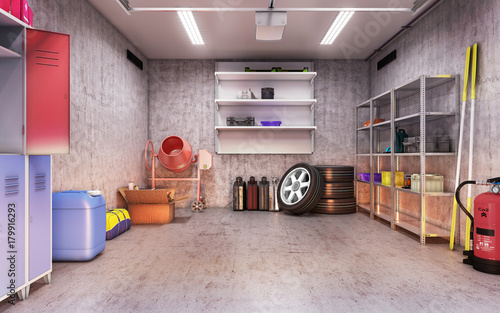 Photo  garage interior 3d illustration