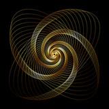 Złota falista twirl złota rozeta - element graficzny - sztuka generatywna - 179923233