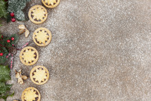 Frosty Christmas Background With Mince Pies