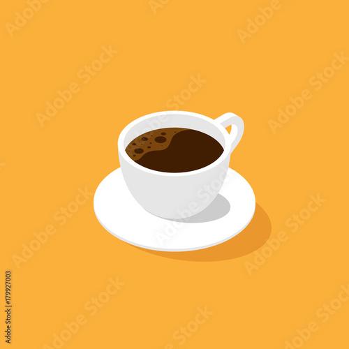 Filiżanka kawy izometryczny Płaska konstrukcja