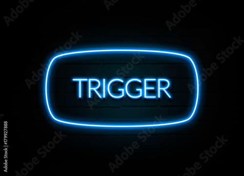 Trigger  - colorful Neon Sign on brickwall Canvas Print