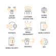 Modern Flat thin line Icon Set in Concept of Digital Marketing with word Online Support,Customer Satiscation,Global Online,Feedbak,Brand Engagement,Mobile Service,Mobile Security,Research,SEO.