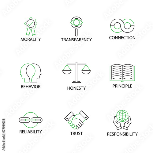 Fotografie, Obraz  Modern Flat thin line Icon Set in Concept of Business Ethics with word Morality,Transparency,Connection,Behavior,Honesty,Principle,Reliability,Trust,Responsibility