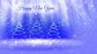 finished bright composition for New Year background with three 3d Christmas tree from glitter particles, sparkles, stars. With rays such as aurora borealis and snowfall on blue background. v2